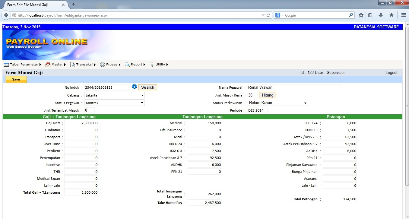 Data base Gaji Karyawan payroll software